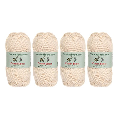 Cotton Select Sport Weight Yarn - 100% Fine Cotton - 4 Skeins - Col 403 - Moon Beam