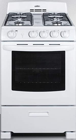 Amazon Com Summit Appliance Rg244ws 24 Wide Gas Range In White With Sealed Burners Electronic Ignition Broiler Pan Push To Turn Knobs Anti Tip Bracket Broiler Compartment And Oven Window Appliances