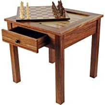Trademark Games 80-411 Wood 3-In-1 Chess Backgammon Table