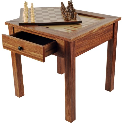 Wooden Chess Table - Trademark Games Wood 3-in-1 Chess Backgammon Table