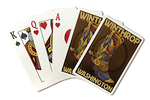 (Winthrop, Washington - Boot Design (Playing Card Deck - 52 Card Poker Size with Jokers))