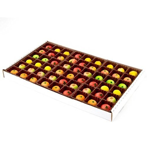 Bergen Marzipan 54 Piece Assorted Fruit Box Tray Net Weight 25 oz
