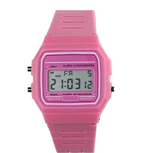 Relojes Digitales para niños, hongtianyuan HONHX a159 W a Colores multifunción Sport Reloj de Pulsera Impermeable para Estudiantes Rosa: Amazon.es: Relojes