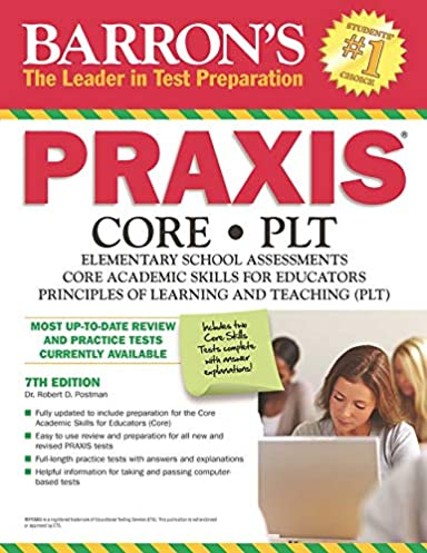 barron s praxis 7th edition core plt robert d postman ed d rh amazon com