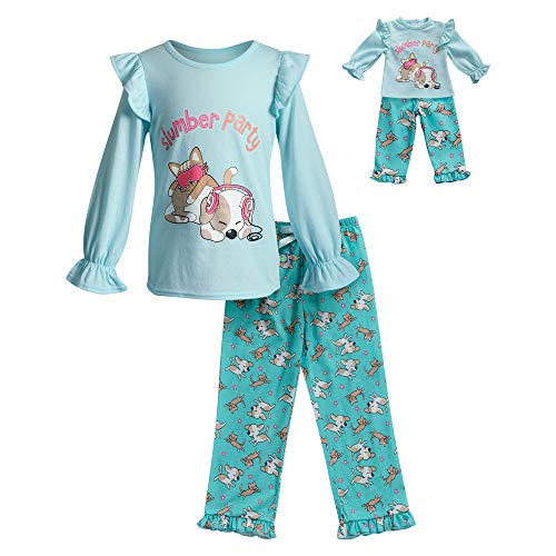 Dollie & Me Girls' Apparel Slumber Party Art Pajamas with Matching Doll Outfit in, Blue/Turq Size 10 ()