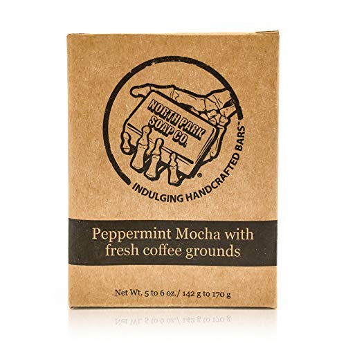 Soap by North Park Soap Co. Peppermint Mocha with fresh coffee grounds 5.50 oz Handcrafted using Therapeutic Grade Essential Oils