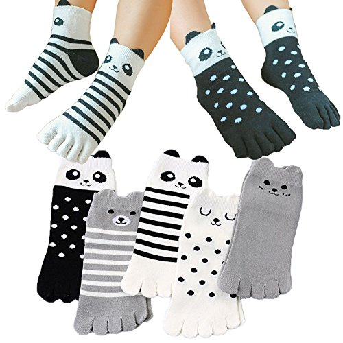 Children Sock Kawaii Cartoon Pattern Cotton Toe Socks for Kids 3-12 Years Old Pack of 5 (Color 2, 7-12 ()