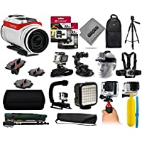 TomTom Bandit 4K HD 16MP Action Camera with 64GB Memory + Backpack + 60? Tripod + Head/Chest Strap + Suction Cup + Hand Glove + LED Light + Stabilizer + Case + More!