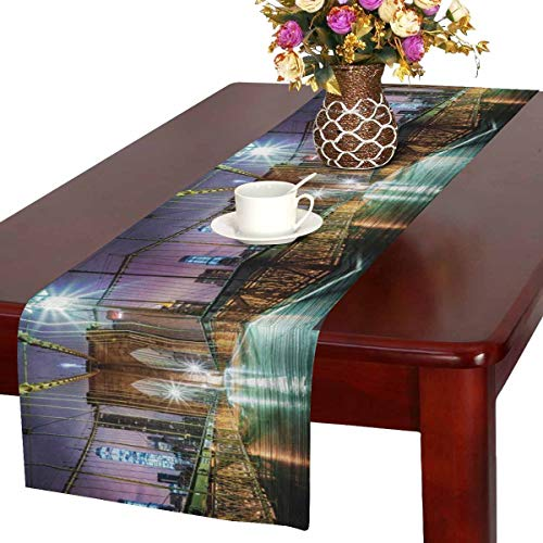 InterestPrint Empty Brooklyn Bridge Before Sunrise New York City Table Runner Linen & Cotton Cloth Placemat Home Decor for Wedding Banquet Decoration 16 x 72 -