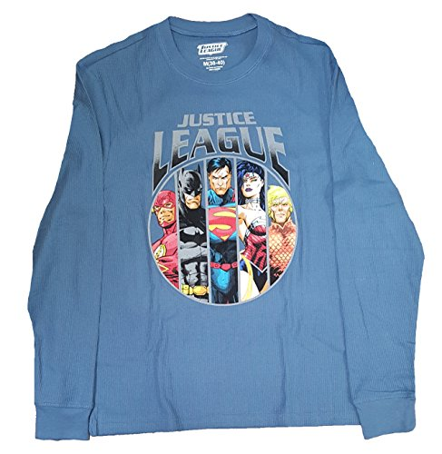 justice+league Products : DC Comics Justice League Blue Long Sleeve Thermal Graphic T-Shirt