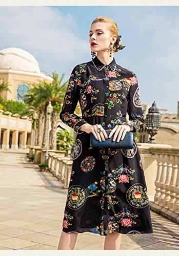 with Printed Silk cotyledon Dresses Long Short Belt Sleeve Women`s Stand Neck Dress Collar qPRBnwAgPx