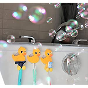 MiniOwls Bath Combo - Set of 4 Toothbrush Holders & 2 Hooks with Yellow Duck Suction Cups. Best Bathroom Organizer -3% is Donated to Autism Foundation (yellow)