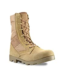 Men's 9 Inch Desert Tan Military Style Combat Boots with Side Zipper for Work, Construction, Hiking, Hunting, Outdoors. Durable, Comfortable,True to Size. 6 Month Manufacturer's Warranty