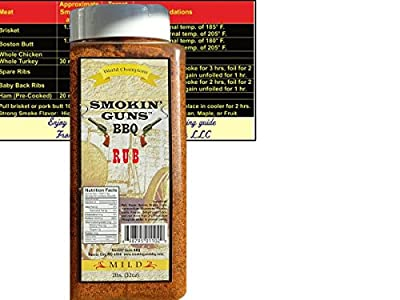 Smokin Guns BBQ Rub MILD Large 2 Pound (32 oz) Bottle with Complimentary Miniature Meat Smoking Guide Magnet Bundle