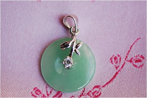 Green Jade Flower Disc Pendant