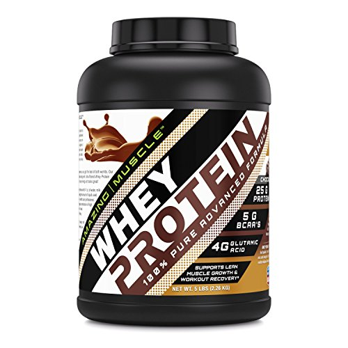 Amazing Muscle 100% Whey Protein Powder *Advanced Formula with Whey Protein Isolate as a Primary Ingredient Along with Ultra Filtered Whey Protein Concentrate (Chocolate, 5 lb)