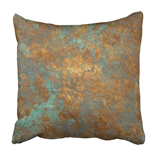 - Emvency Throw Pillow Cover Polyester 20x20 Inch Decorative Orange Copper Vintage Bronze Rust Metal Patina Wall Old Antique Luxury Deco Cushion Pillowcase Print Sofa Home