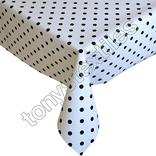 Tony's Textiles Plastic Reusable Tablecloth Wipeable PVC Vinyl Party Garden Kitchen Kids White & Black Polkadot Large Rectangle (280x 137cm) from Tony's Textiles