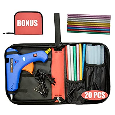 "Hot Glue Gun (Not Mini) 100W Power Switch High Temp Melt Glue Gun Kit with 20 Pcs Premium Glue Sticks (1.1'' x 20"") Full Portable perfect for DIY Small arts & crafts projects (BONUS Tools Carry Bag)"