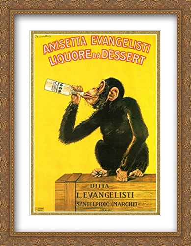 Anisetta Monkey 2X Matted 28x38 Large Gold Ornate Framed Art Print by Carlo Biscaretti