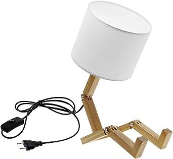 JAMESLBL Moderno Encantador Robot Forma Lámpara De Mesa De Madera ...