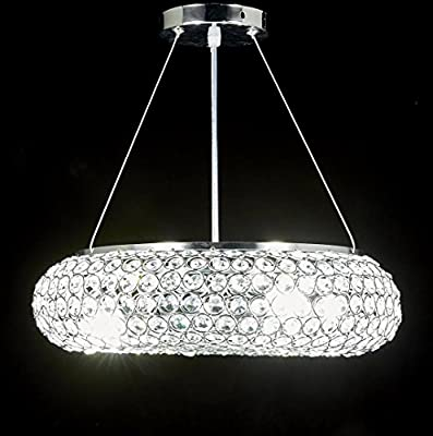 Diamond Life 4-light Chrome Finish Metal Shade Crystal Chandelier Hanging Pendant Ceiling Lamp Fixture, #318