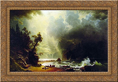Puget Sound on the Pacific Coast 24x18 Gold Ornate Wood Framed Canvas Art by Bierstadt, - Bierstadt Framed