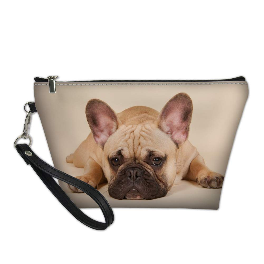 CLOHOMIN PU Leather Makeup Pouch French Bulldog Cosmetic Bags for Travel Wash Toiletry Kit