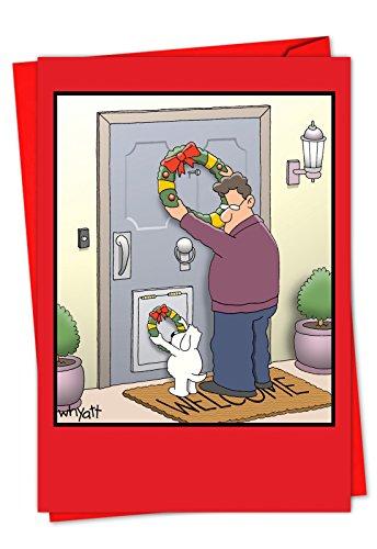C1657XSG-B36 Box Set of 36 'Dog Wreath Tim Whyatt Christmas Cartoon' Funny Christmas Greeting Card Featuring a Dog Getting into the Christmas Spirit; With Envelopes (Wreath Cartoon Christmas)