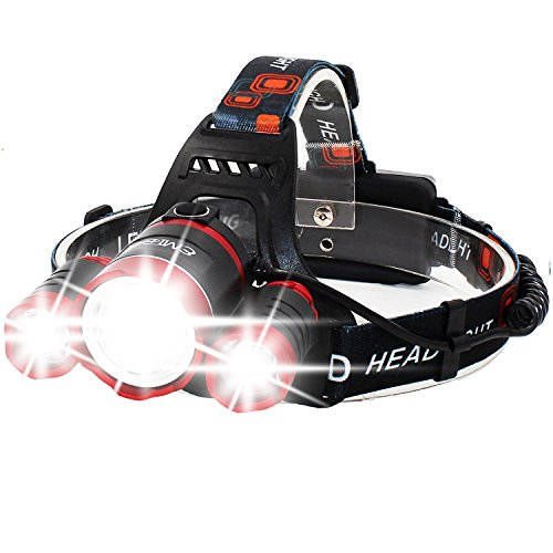 Super Bright Zoomable 4 Modes LED Head Torch, Rechargeable Waterproof Focus...