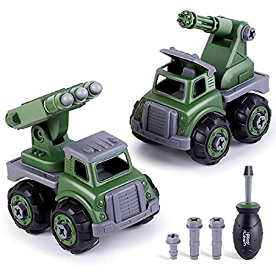 iPlay, iLearn Army Toy Trucks, Take Apart Toys W/ Screwdriver, Assembly Military Vehicles, Build Your Own Play Set, STEM Learning Gift for 3, 4, 5, 6 Year Olds Boys, Girls, Kids, Toddlers, Children: Toys & Games