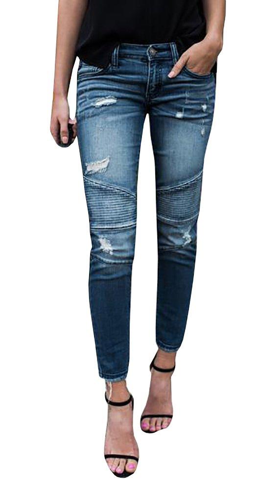 Misassy Womens Juniors Distressed Ripped Destroyed Jeans Skinny Moto Leggings with Frayed Hem (Medium, Light Blue)