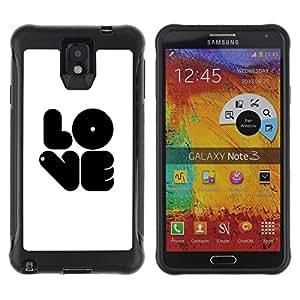 LASTONE PHONE CASE / Suave Silicona Caso Carcasa de Caucho Funda para Samsung Note 3 / Black LOVE