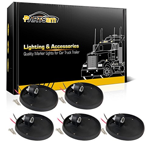 Partsam 5X Round-Shape Cab Marker Light Roof Running Lamp Rubber Base Compatible with Chevrolet/GMC C/K Series 1973-1987 Full Size Pickup Trucks Top Roof Cab Light Base