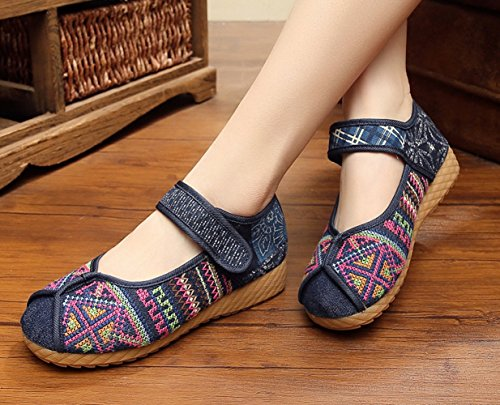 AvaCostume Fashion Chinese Traditional Batik Patchwork Rubber Sole Mary Jane Shoes Blue Y5zVlUr7m