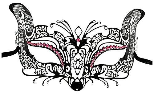 [Luxury Mask Women's Laser Cut Metal Cat Mask Venetian Halloween Prom Mardi Gras (BLACK/PINK STONES)] (Cat Masks For Kids)