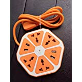 QOCOO 6ft Cord Creative Fruit Shape Hexagon Home Office School Multi Sockets Power Strip 4 Outlet with 4 USB Surge Protector Phone Charging Station for iPhone Samsung Tablet and Other Smartphone ORANGE