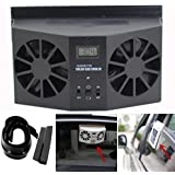 Auto Fan Cool,Elevin(TM)2017 New Summer Solar Powered Car Window Air Vent Ventilator Mini Air Conditioner Cool Fan (Black)