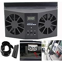 Elevin(TM) Auto Fan Cool, 2017 New Summer Solar Powered Car Window Air Vent Ventilator Mini Air Conditioner Cool Fan (Black)