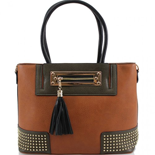 LeahWard Women's Large Size Handbags Quality Tassel Tote Shoulder Bags Bag For Women School 0010 Brown