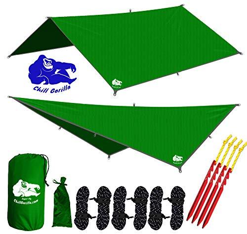 Chill Gorilla 10x10 Hammock Rain Fly Camping Tarp. Ripstop Nylon. 170