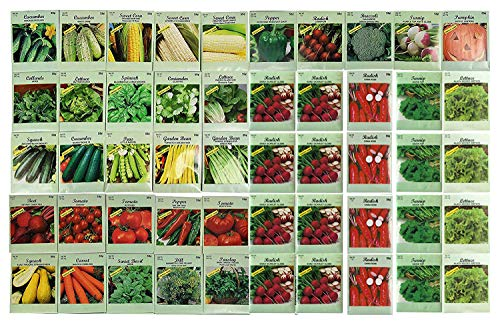 50 Packs Assorted Heirloom Vegetable Seeds 30+ Varieties All Seeds are Heirloom, 100% Non-GMO ()