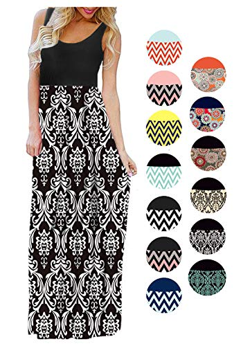 LIYOHON Womens Summer Striped Print Loose Maxi Dress Contrast Sleeveless Tank Top Floral Print Long Maxi Dresses for Women 02 Black White-M