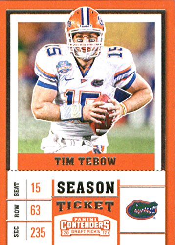 (2017 Panini Contenders Draft Picks Season Ticket #93 Tim Tebow Florida Gators Football Card)