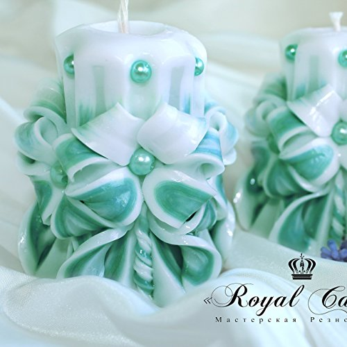 carved candle Prime – candle small – wedding candle favor – white-blue small candle