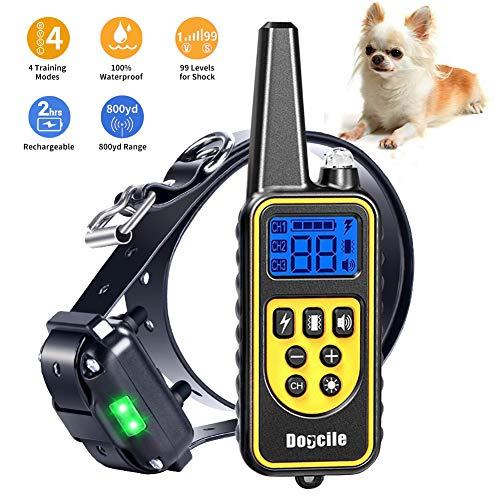 YIDA TECH Dog Shock Collar with Remote 800 Yards, Shock Collar for Dogs Beep, Vibrate and Shock Modes, IPX7 100 Waterproof Dog Training Collar LCD Display USB Charging