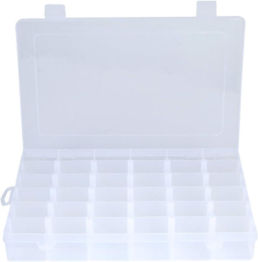 Caja organizadora con 36 compartimentos ajustables YUYAN incluye 100 bobinas de hilo de pl/ástico y pegatina