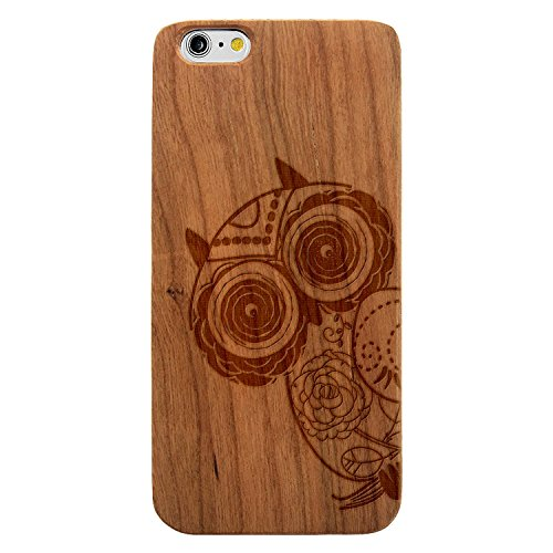 JewelryVolt Wooden Phone Case for iPhone 7 Plus Cherry Wood Laser Engraved Animal Floral Owl on Branch Sketch