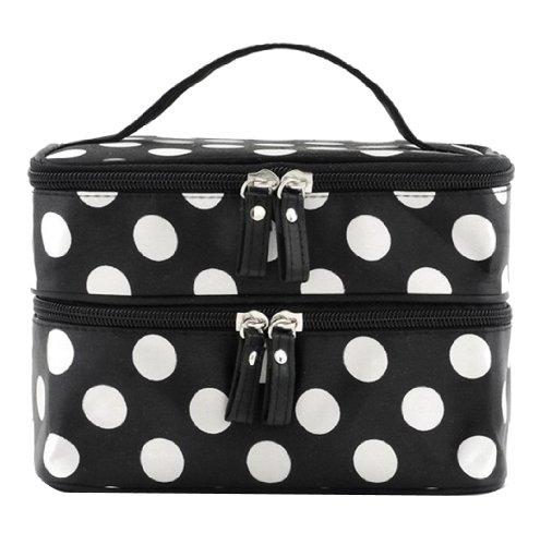 Umiwe (TM) Black Double Layer Белый горошек Косметические сумки туалетных принадлежностей Макияж сумки с 4 Zipper С Umiwe аксессуар