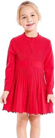 SMILING PINKER Little Girls Pleated Dress School Uniform Long Sleeve Button Front Knit Sweater Dress